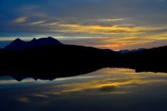 Sonnenuntergang in Blickrichtung Stubai