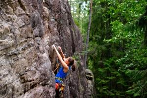 Steffi im ersten von uns besuchten Klettergebiet Espedalen