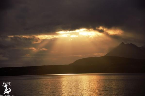 Sunset über den Cunnils der Isle of Skye