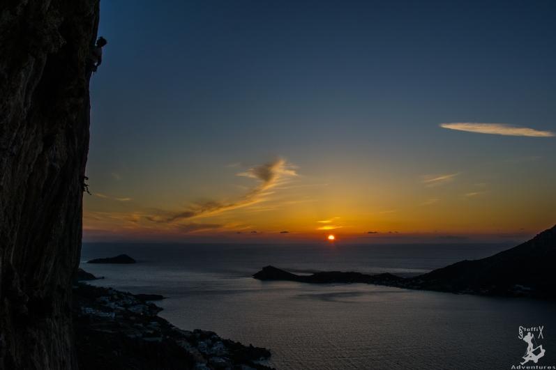 Climbing during Sunset