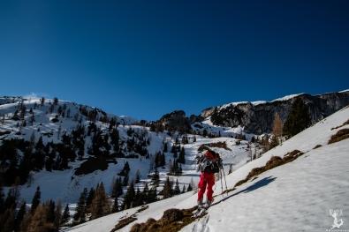 Kurz unter der Dalfazalm kamen die Ski endlich an die Füße