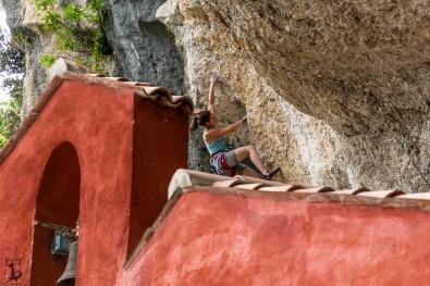 """Klettern über der Kapelle in """"Braulins"""""""